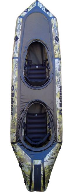 Packraft biplace ponté en tissu camouflage, idéal pour le bushcraft et la pêche - Mekong packraft