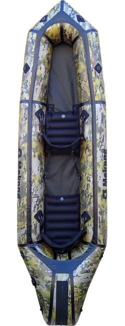 Packraft biplace ponté en coloris camouflage, le compagnon des pêcheurs - Mekong packraft